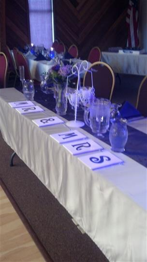 """Catering table with letters that read """"Mr. & Mrs."""""""