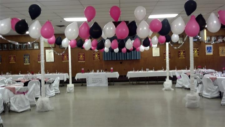 catering room with balloons