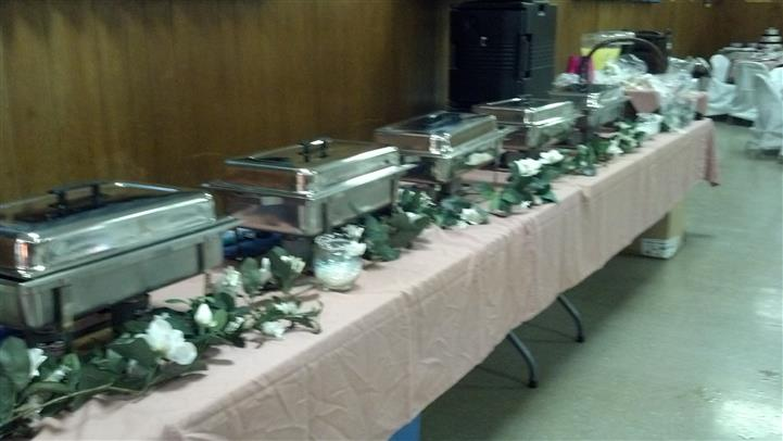 Catering table with party trays