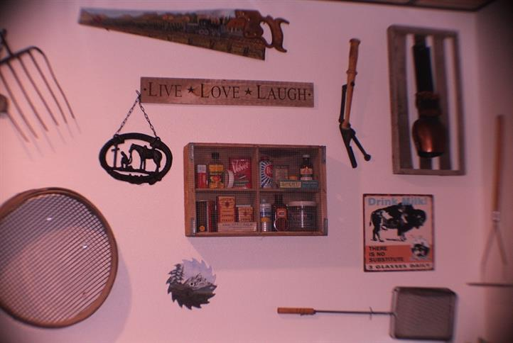 Wall art and shelf with spices