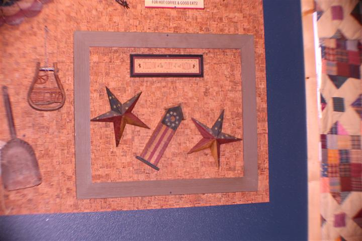 Wall art of stars and american flag building