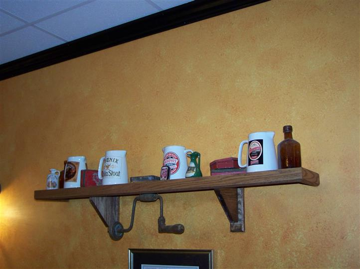 decorative mugs on the walls