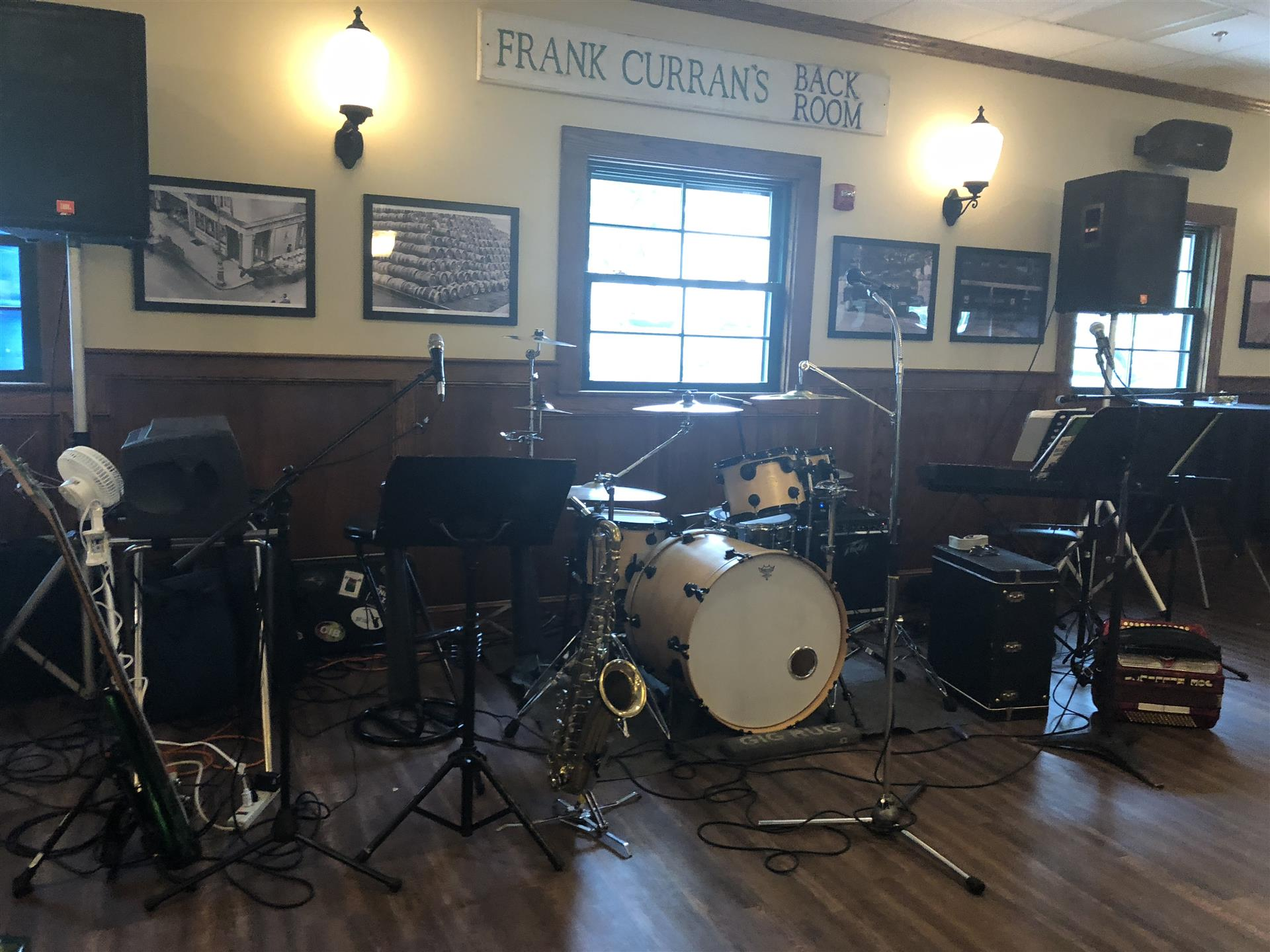 live band setup in the dining area