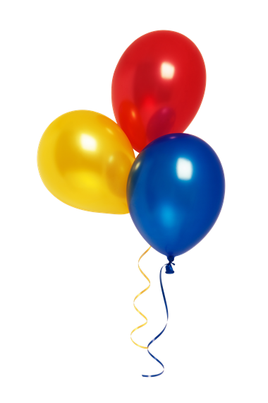 Small bunch of yellow, red, and blue balloons