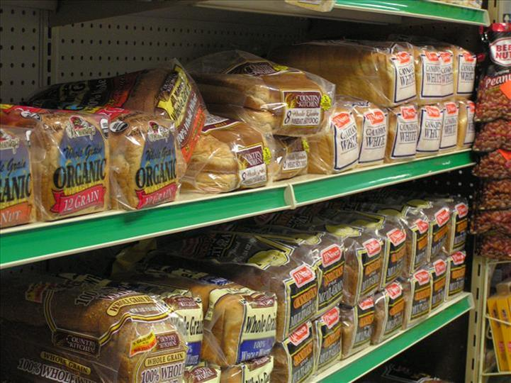 Shelves stocked with bread