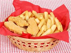 basket of chicken tenders and fries