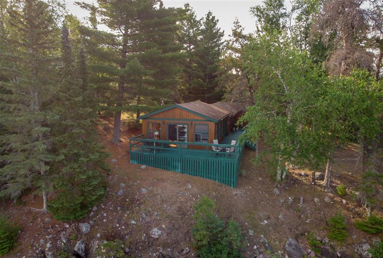 Aerial view of private cabin in Island 4 at Totem Lodge.