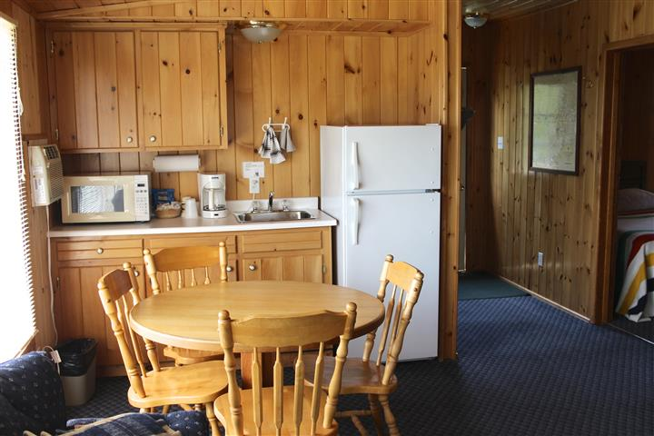 inside of a cabins kitchen with a fridge and kitchen table and chairs