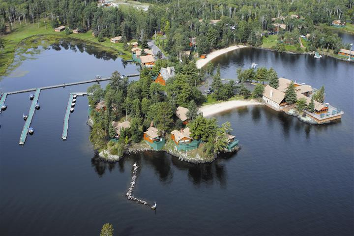 aerial view of the lakes and totem lodge resort