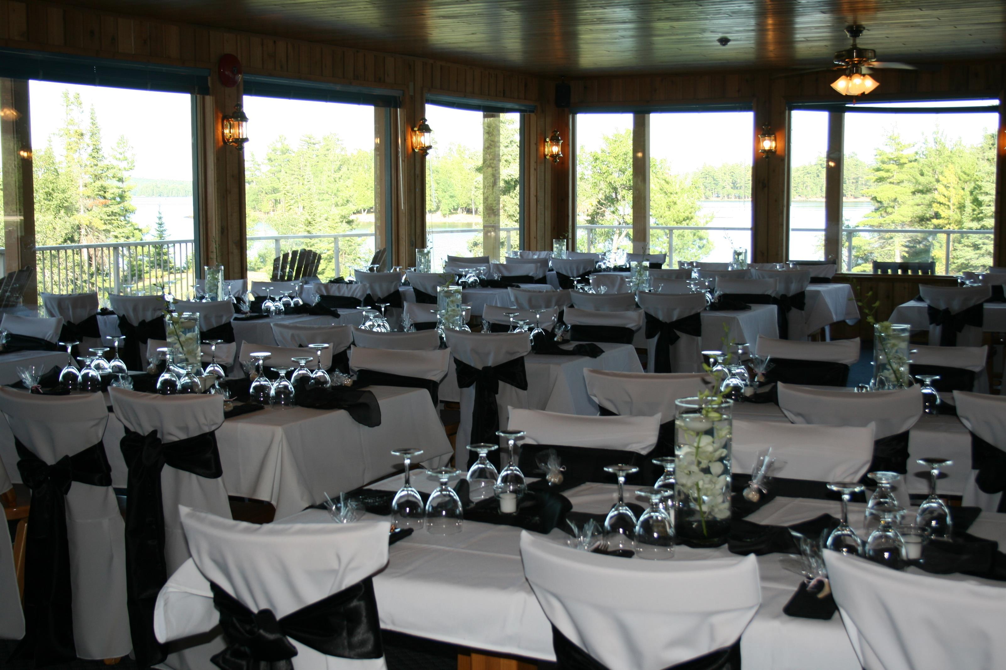 dining area of the lodge set up for an event