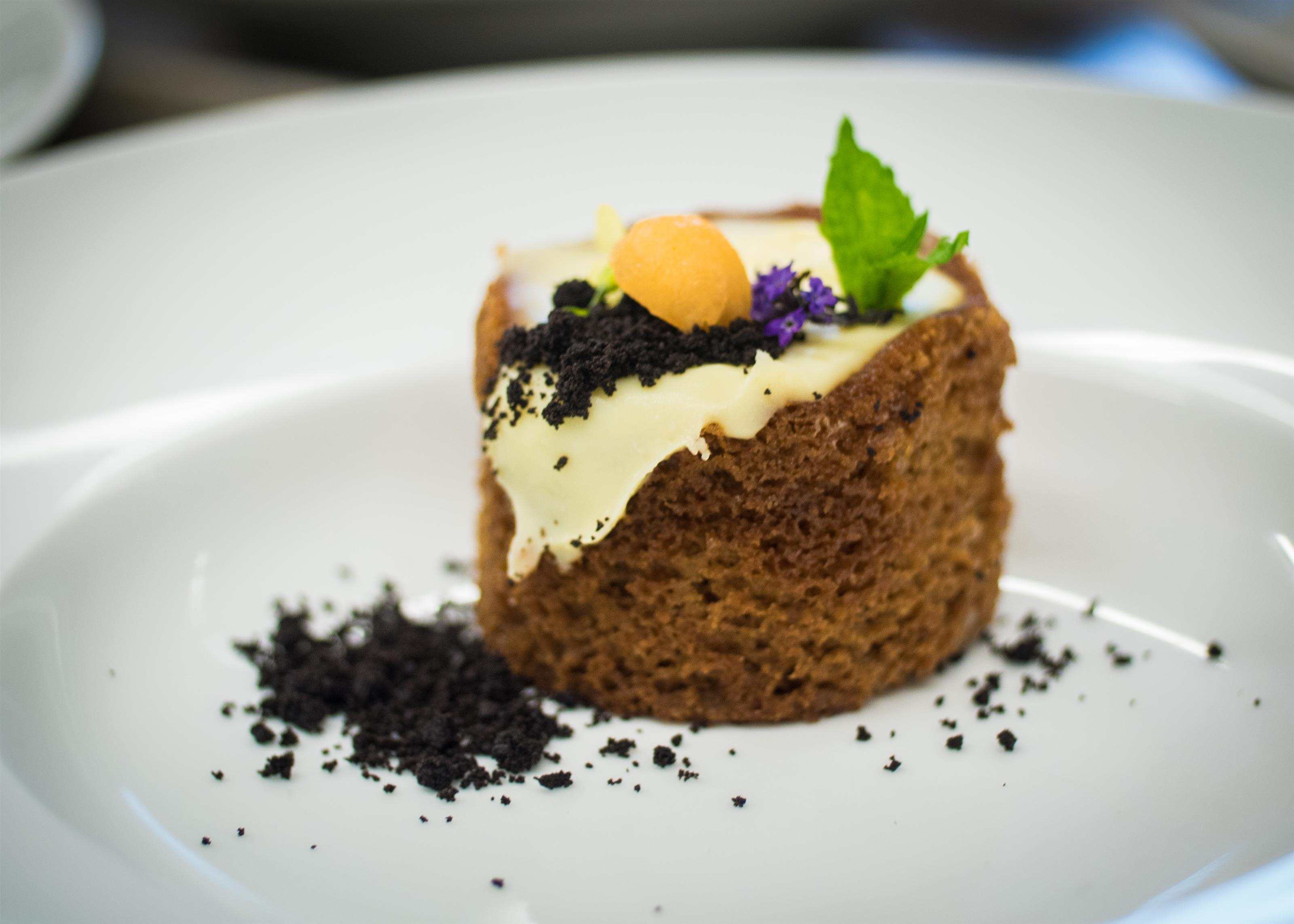 a  small dessert on a plate