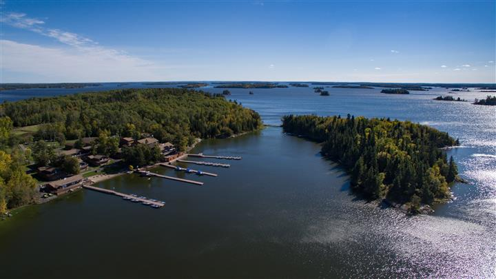 Aerial view of Wiley Point Wilderness Lodge
