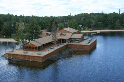 the french portage outpost building on the water