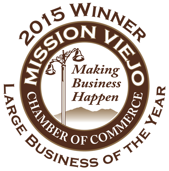 Mission Viejo Chamber of Commerce. Making business happen. 2015 Winner. Large business of the year.