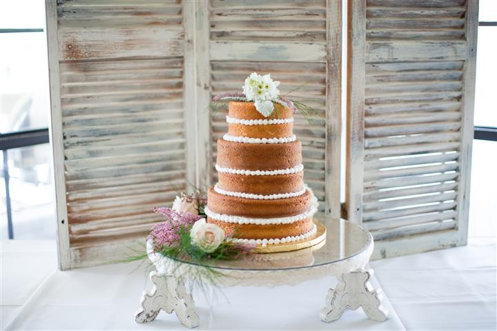 Multi-layered cake on glass table
