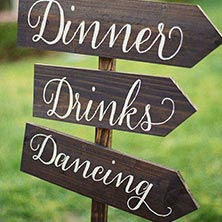 dinner, drinks, and dancing sign