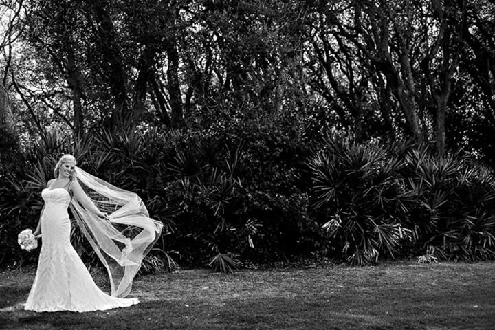 black and white picture of Bride on the greens