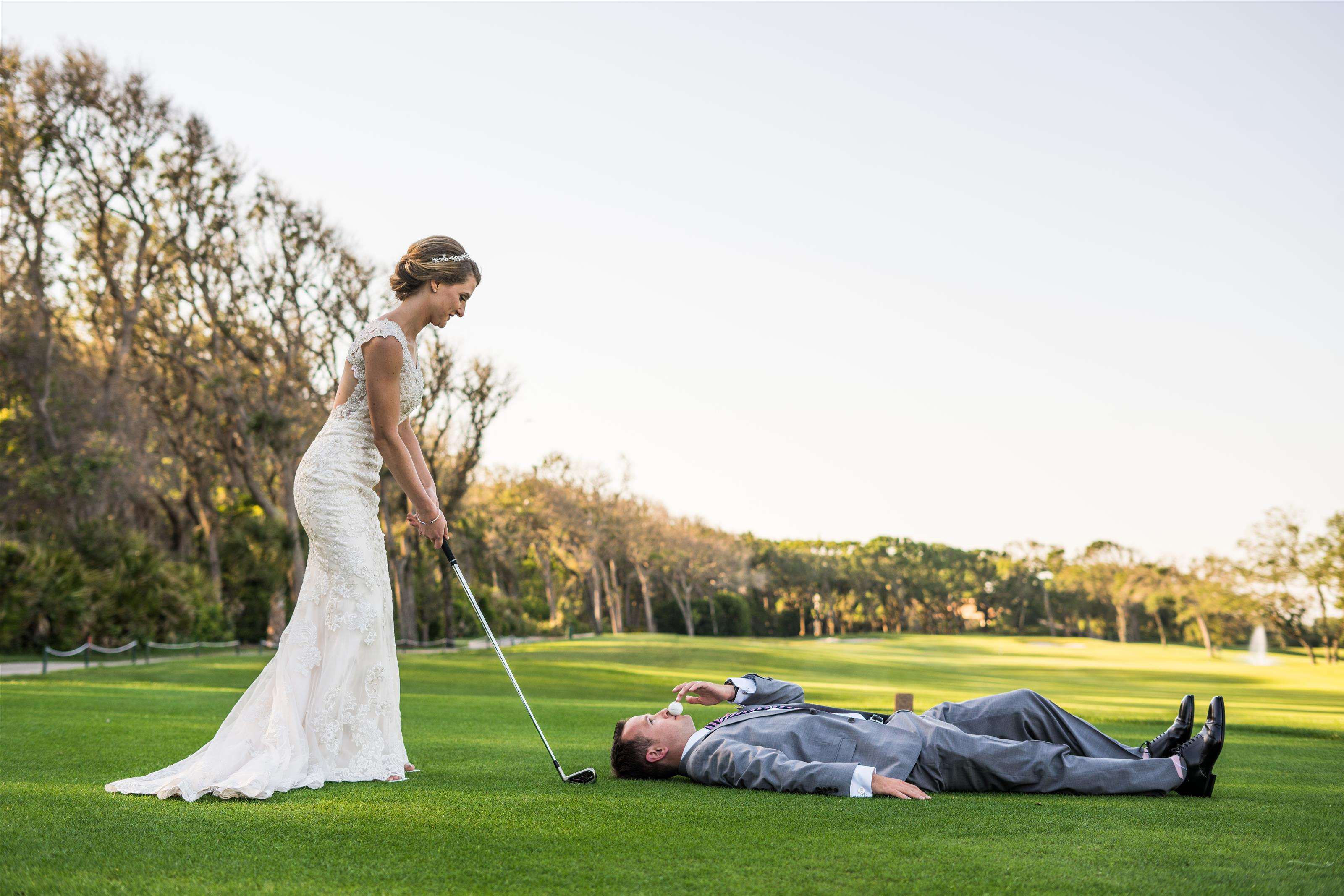 Golf Bride and Groom