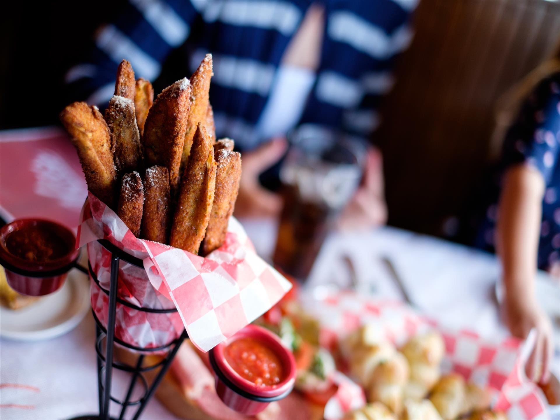 Fries in a standing basket