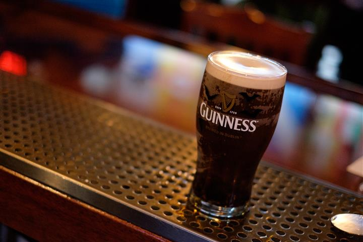 Guinness Glass with beverage inside