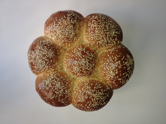 fresh baked bread with sesame seeds