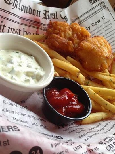 cod dipped in tempura beer batter and deep fried, served with French fries, coleslaw, and tartar sauce.