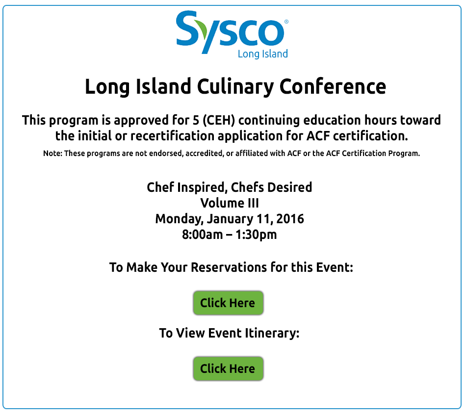 Sysco Long Island Culinary Conference