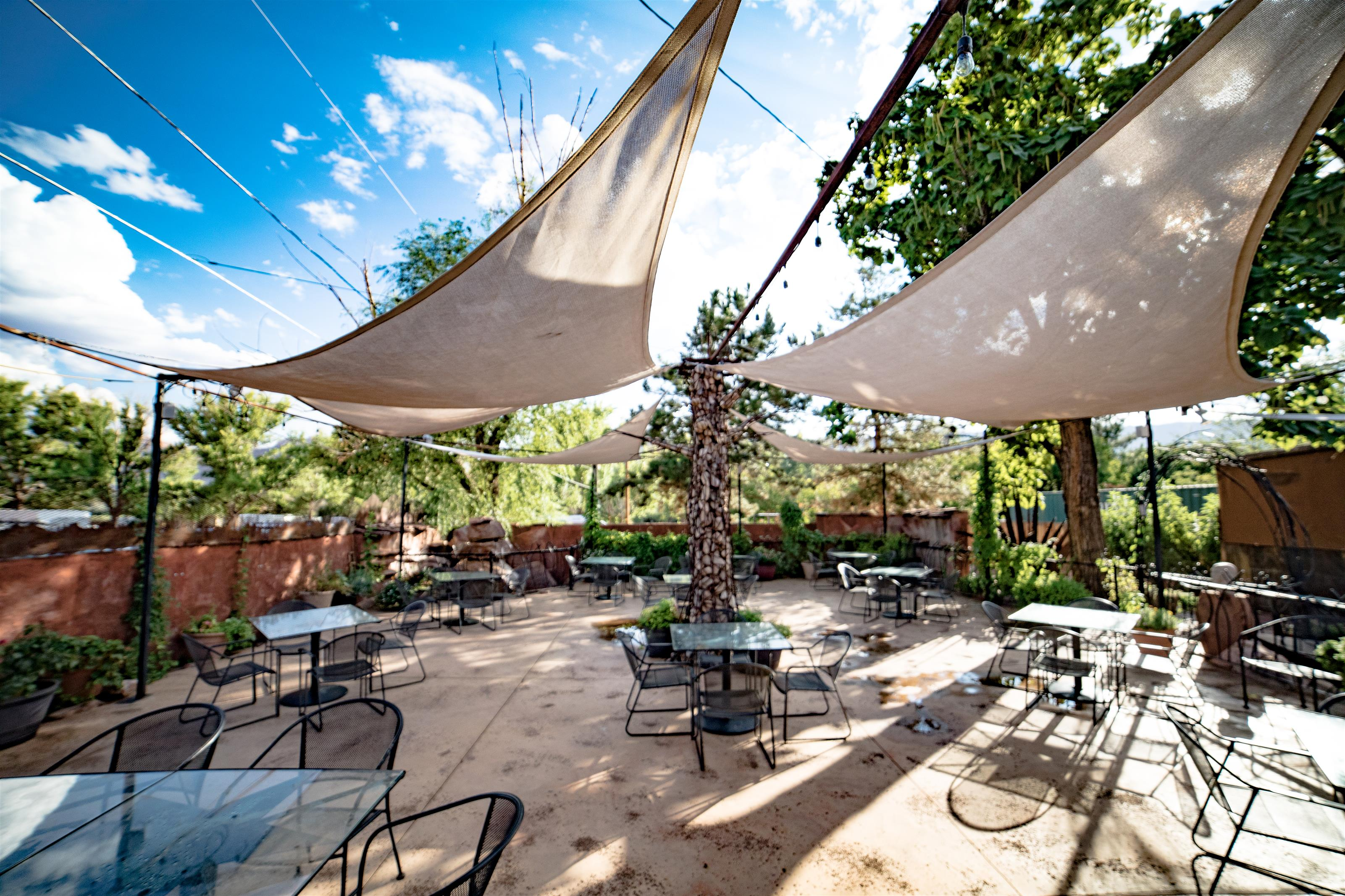 Patio area with dining tables