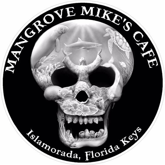 Mangrove Mike's Cafe logo skull with fish inside it