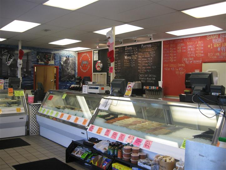 Counter area of seafood shop