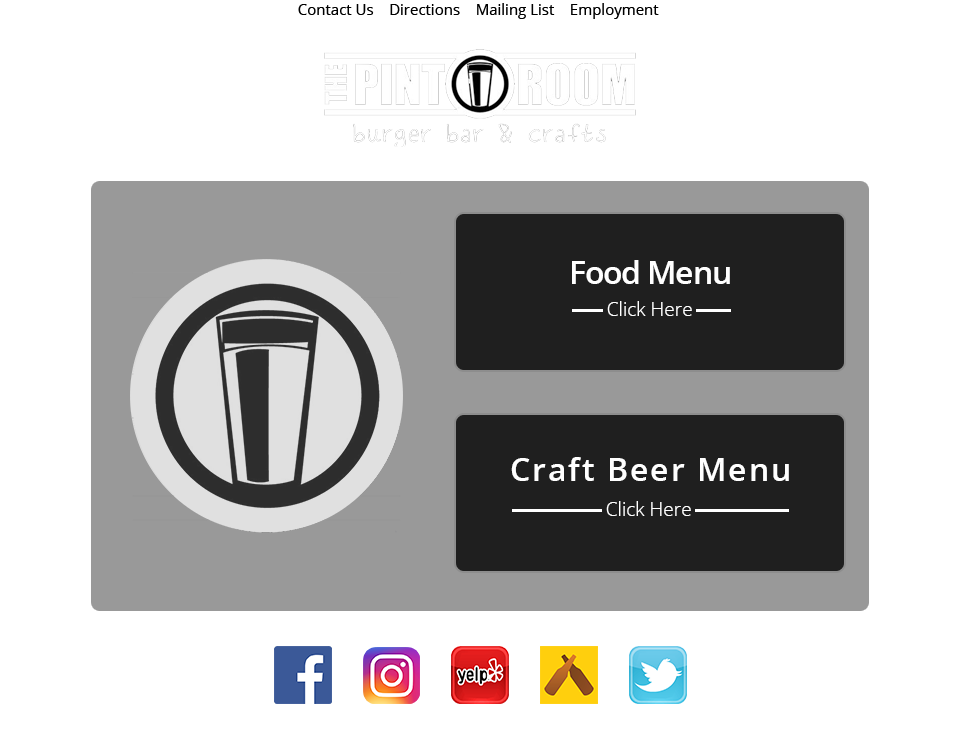 The Pint Room Menu