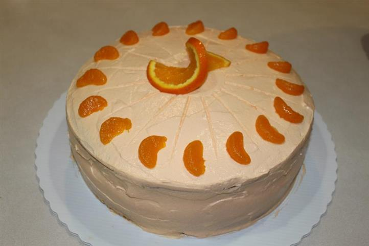 Cake topped with orange slices