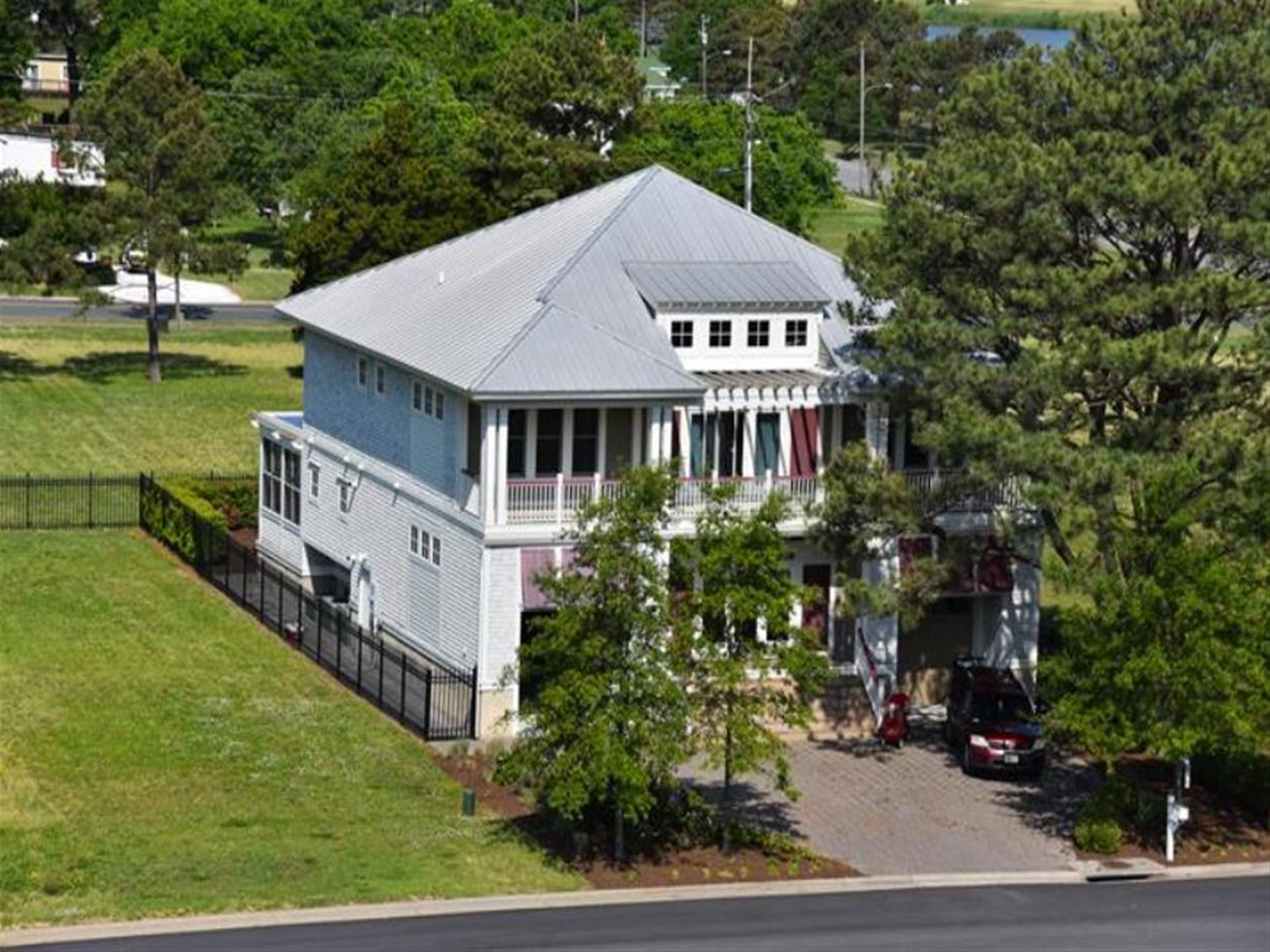 aerial view of the front of the bayport
