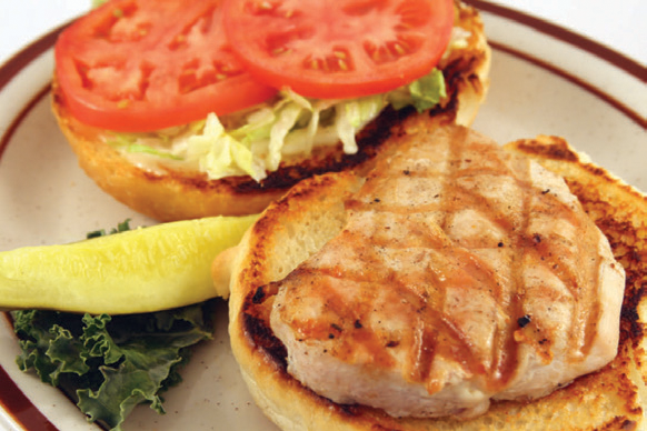 Open faced burger with grilled turkey, tomato & lettuce