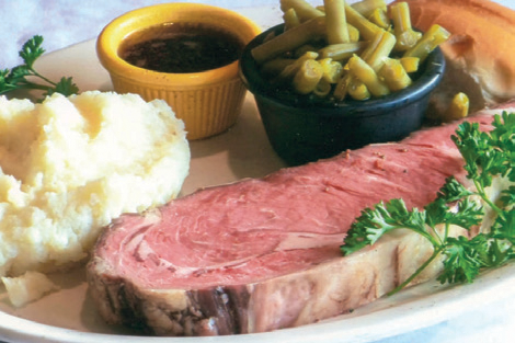 Beef Steak served with mushed potatoes, side green beans and a dipping sauce