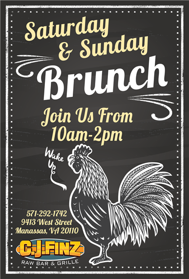 saturday and sunday brunch join us from 10am-2pm.  9413 west street manassas, va 20110 571-292-1742