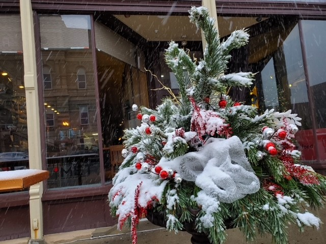 Evergreen tree covered in snow and christmas decorations