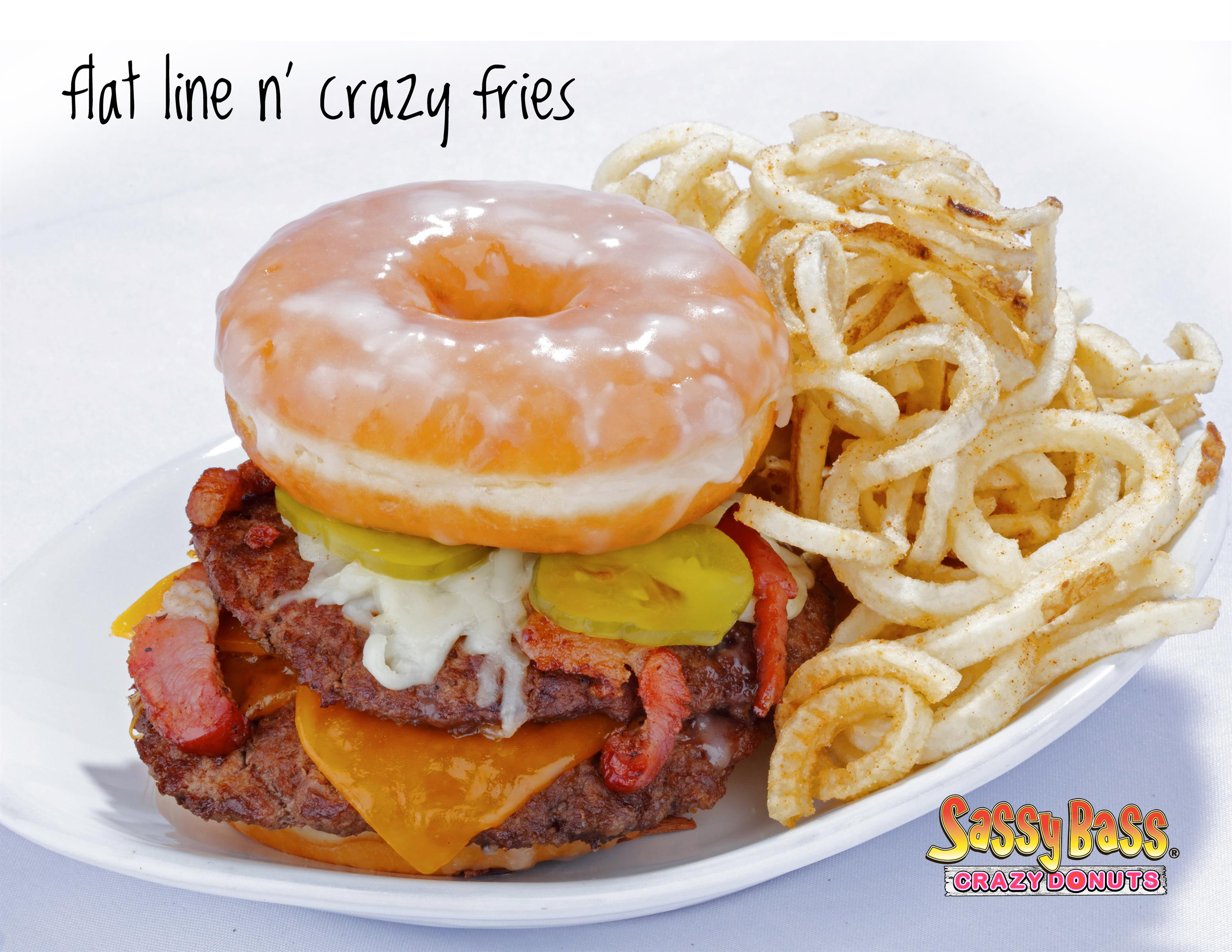 Flat line donut burger with curly fries