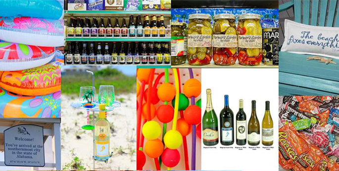 Pool floats, assorted beers in a fridge, wine glasses on a holder on the beach, jars of pickled peppers, assorted wine bottles on display, a collection of assorted chocolates and a pillow on a wooden beach chair