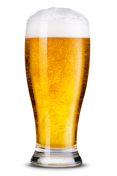 Beer poured into pint glass