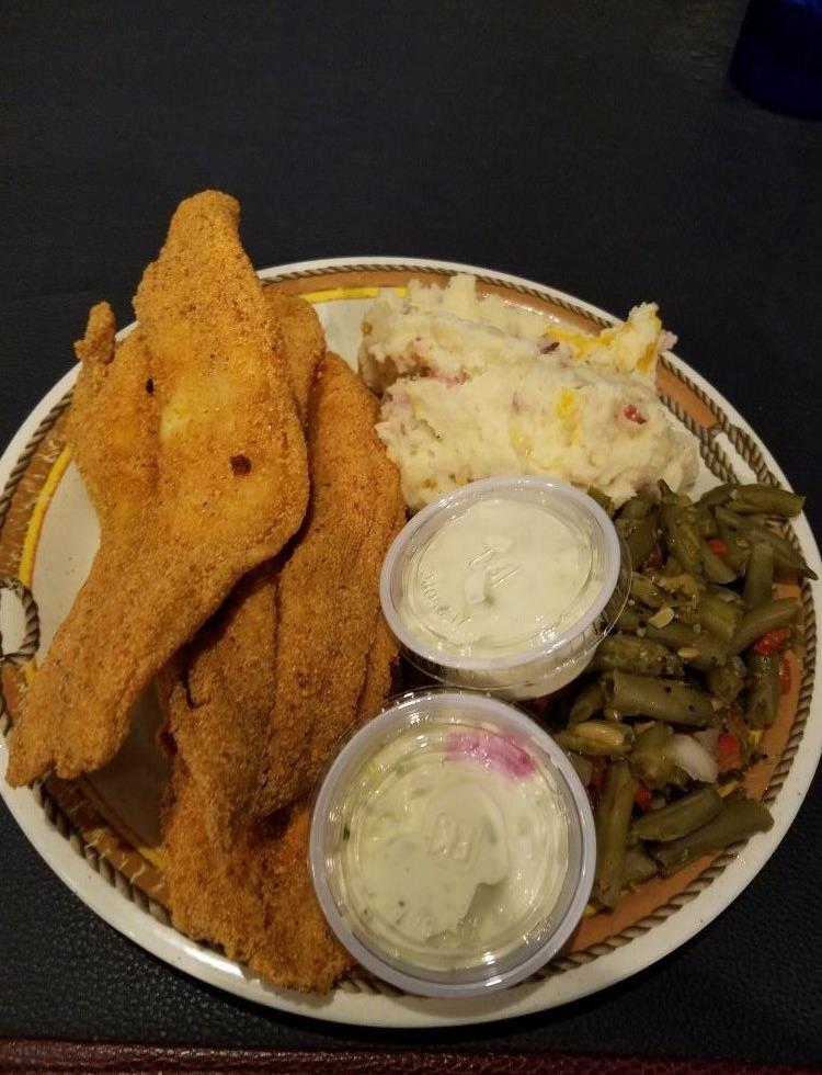 fried fish fillets with potato salad and string beans