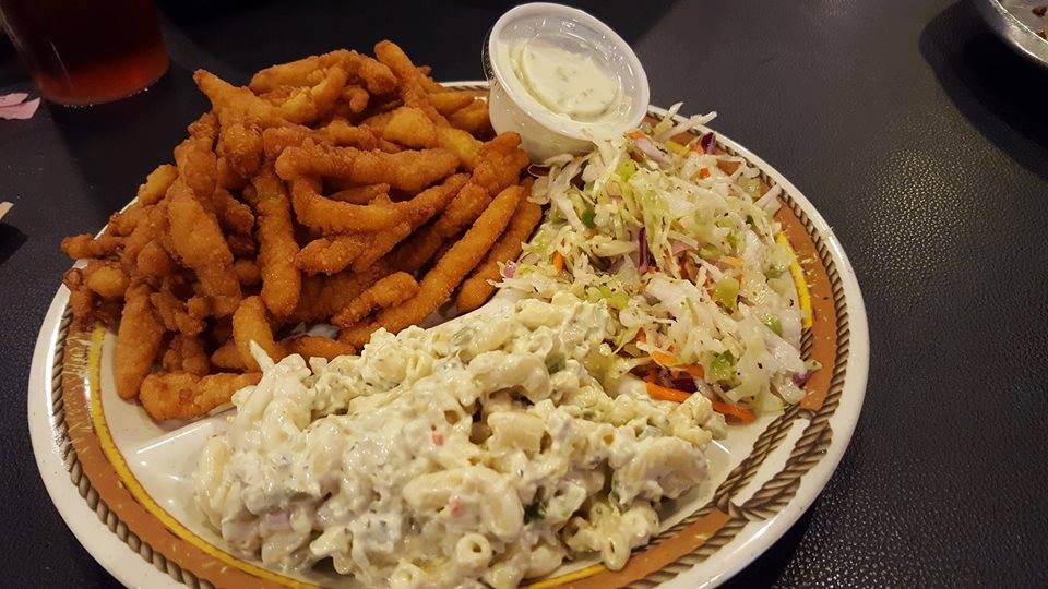 macaroni salad with coleslaw, french fries and dipping sauce