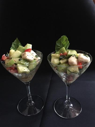 Vegetables in a cocktail glass