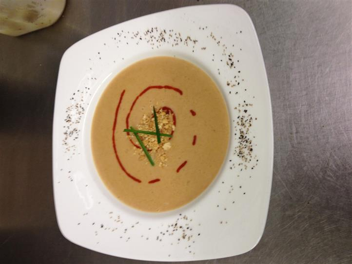 Cream soup in shallow bowl
