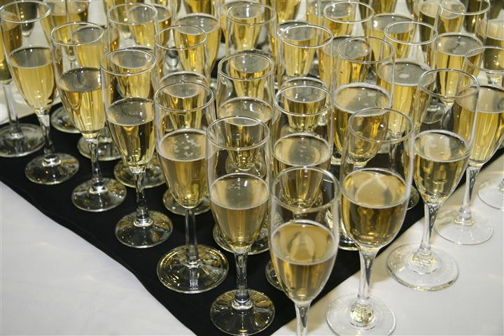 Glasses filled with champagne
