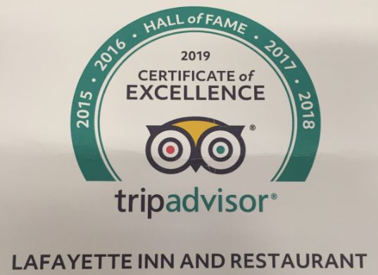 tripadvisor Hall of Fame - Certificate of Excellence : 2015 / 2016 / 2017 / 2018