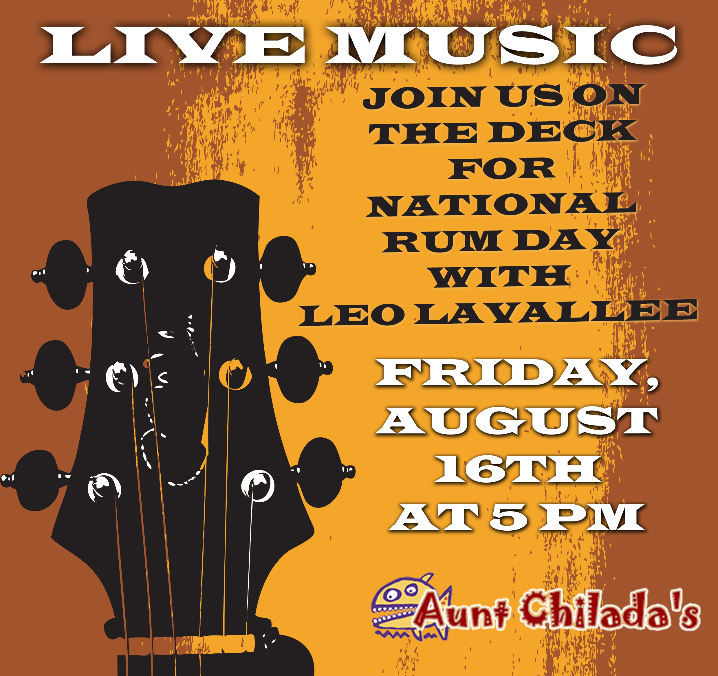 Live Music On the deck for national rum day with Leo Lavallee. Friday, August 16th at 5 pm