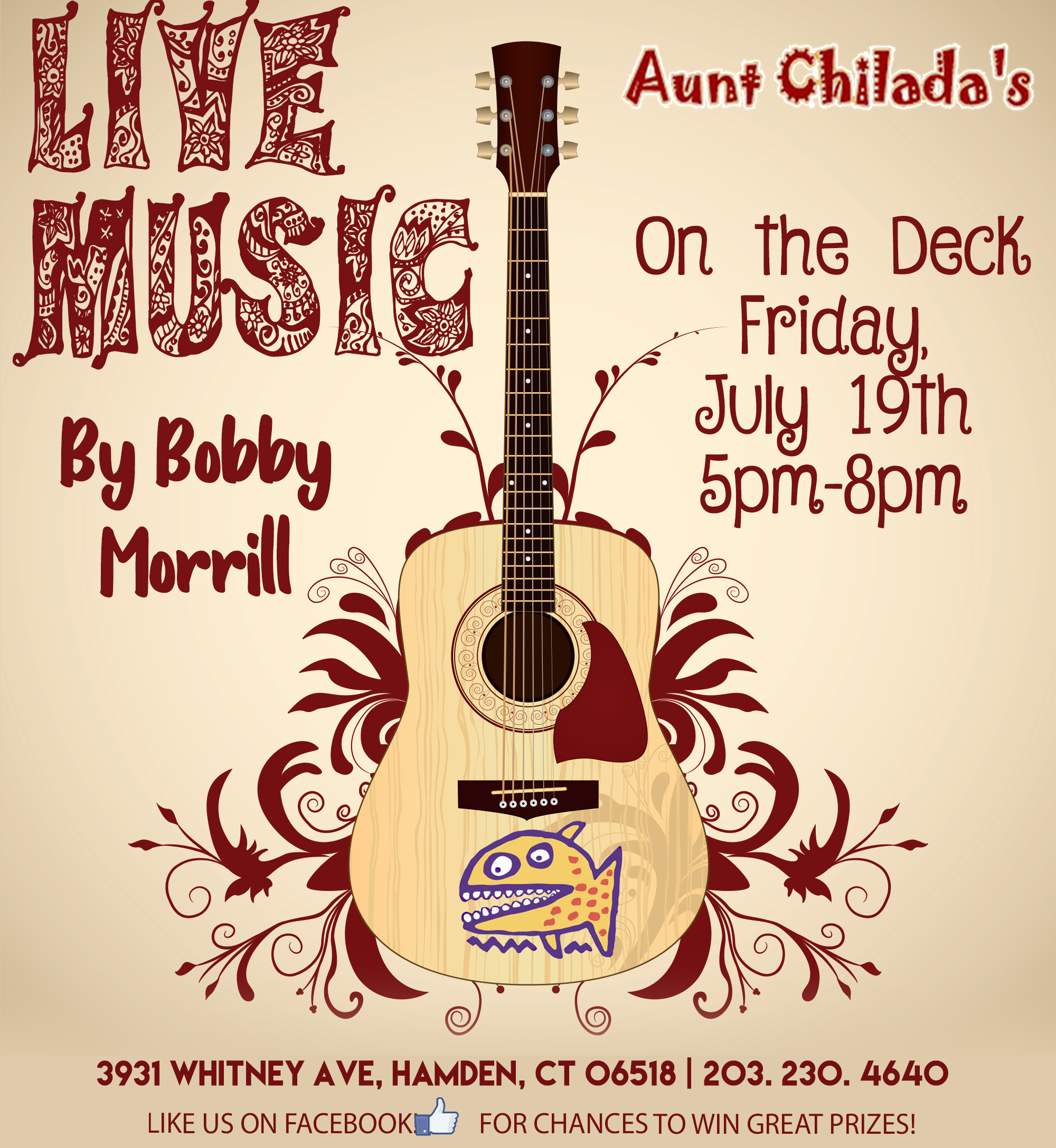 live music by bobby morrill on the deck friday july, 19. 5 pm - 8 pm
