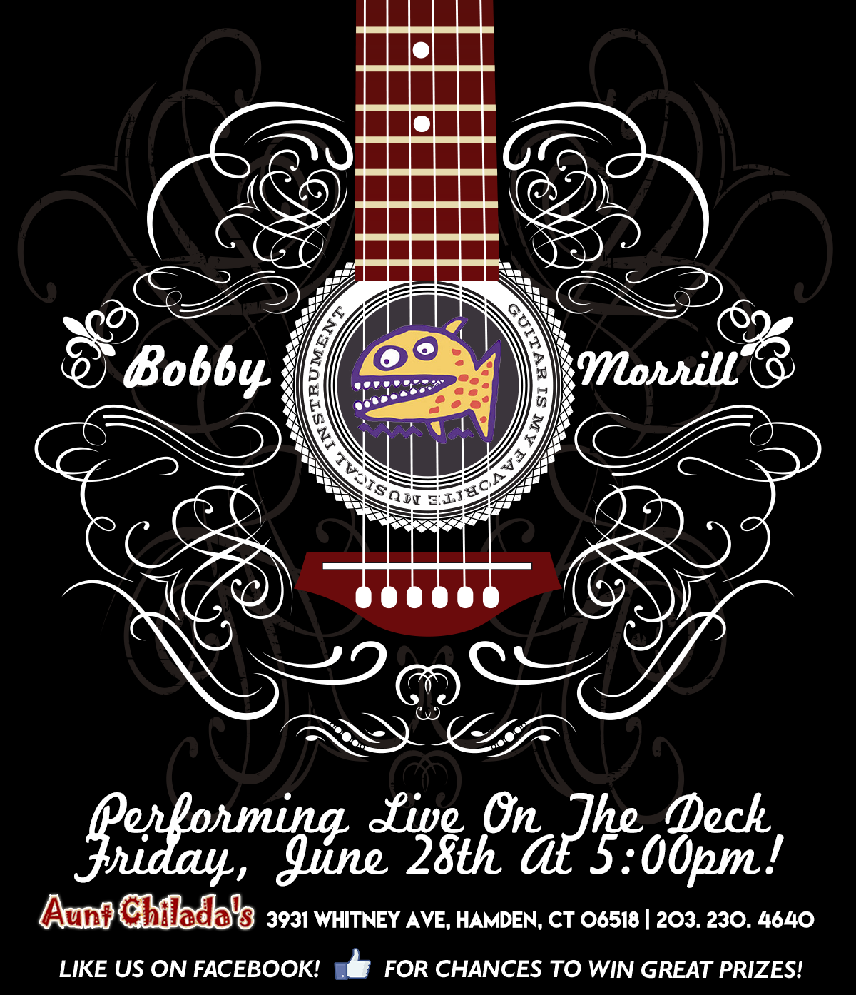 Bobby Morrill performing live on the deck. Friday, june 28th at 5 pm