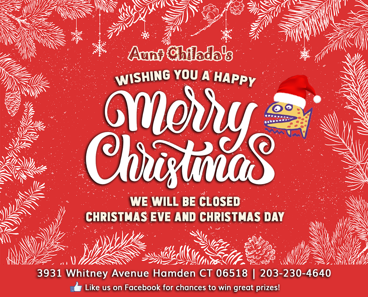 Merry Christmas! We will be closed Christmas Eve and Christmas Day.